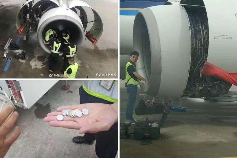 o bunica arunca monede in motorul avionului pentru noroc